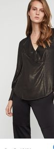 Bcbgmaxaria mettalic draped top in gold combo